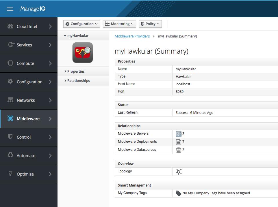 Hawkular provider summary