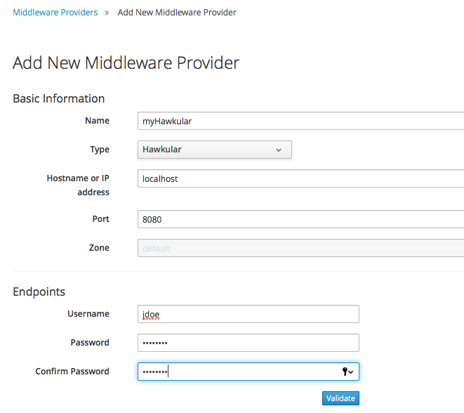 Settings for the provider