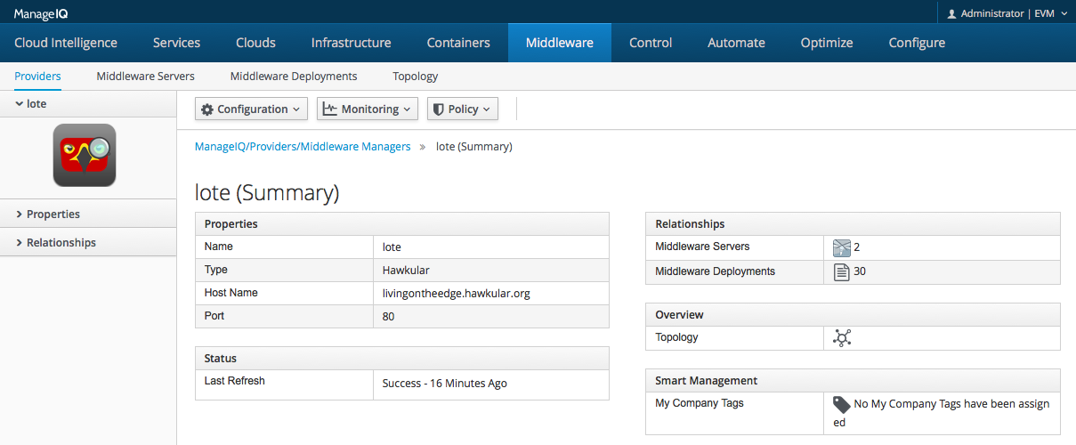 Middelware tab in ManageIQ