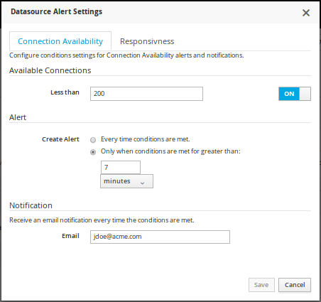 JVM Alert Settings for Datasources