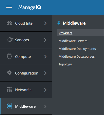 Menu in ManageIQ