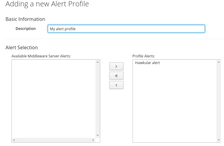 Form to create new ManageIQ alert profile