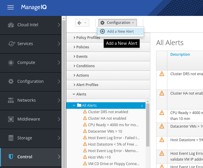 Create new ManageIQ alert