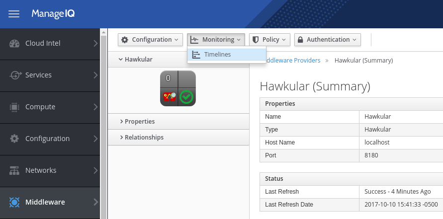 ManageIQ Hawkular provider timeline menu button
